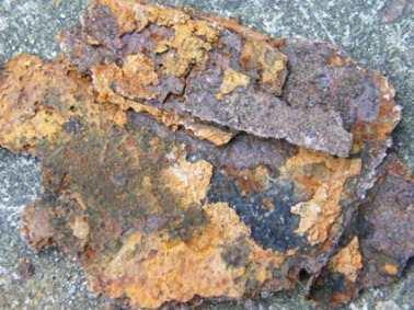 crumbly layers of rust