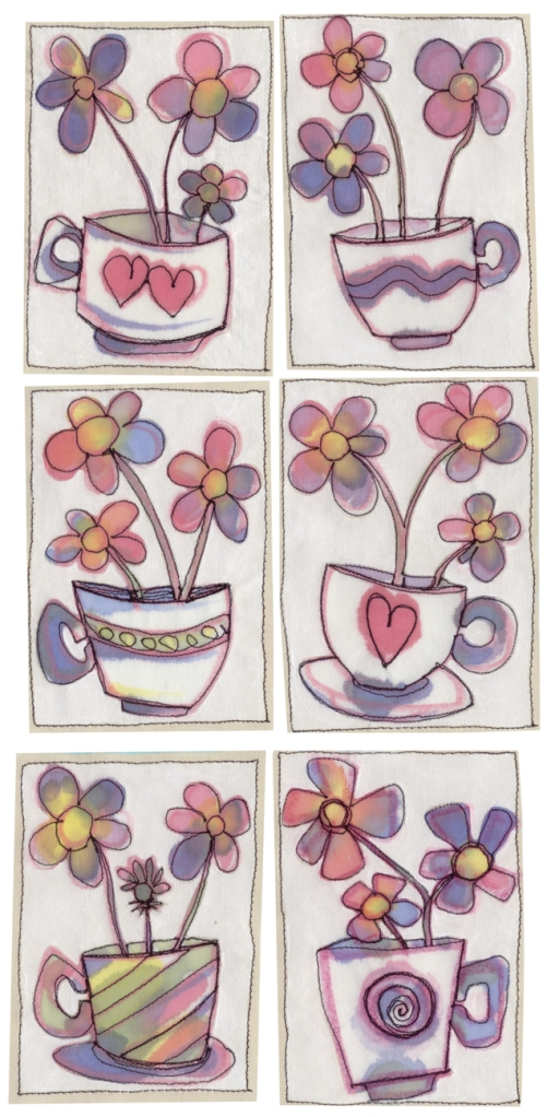 Stitched and painted drawings, set of 6
