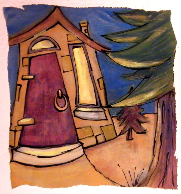 Paint and ink illustration of House In The Woods