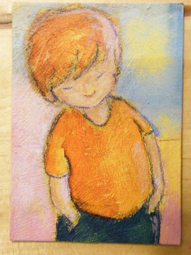 ACEO small boy, acrylics