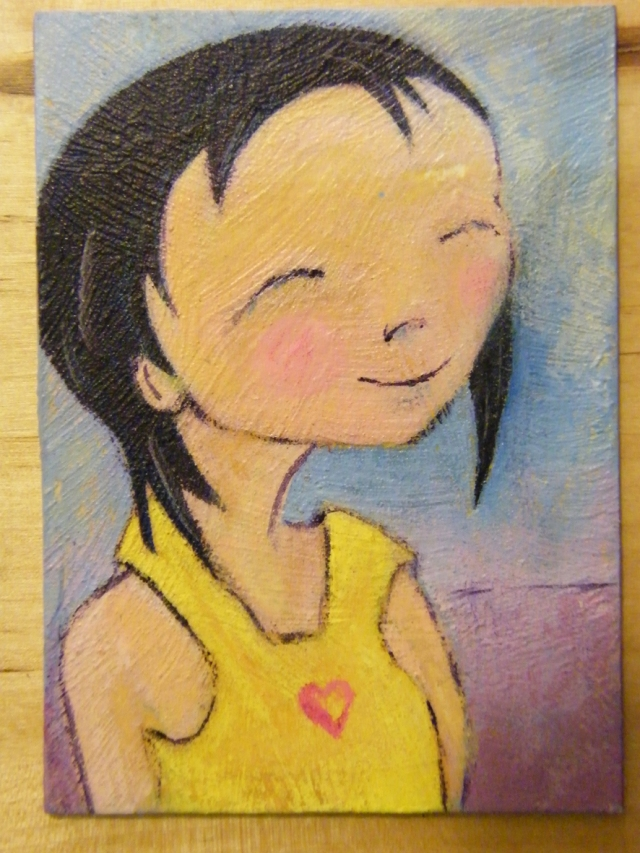ACEO acrylics Young girl