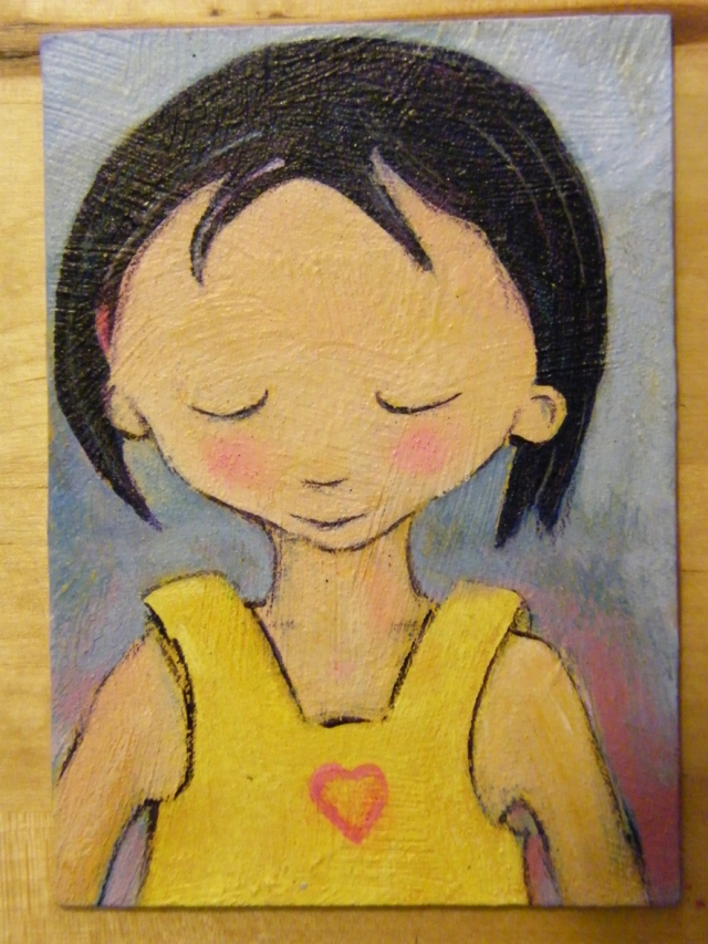 ACEO young girl acrylics