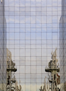 photo of reflections in a glass wall