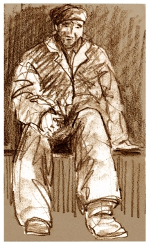 Drawing of man seated.