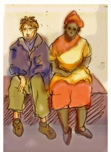 Drawing of a couple waiting